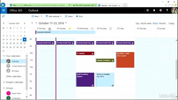 Print the calendar: Outlook on the web Essential Training