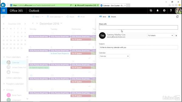 Share your calendar with colleagues: Outlook on the web Essential Training