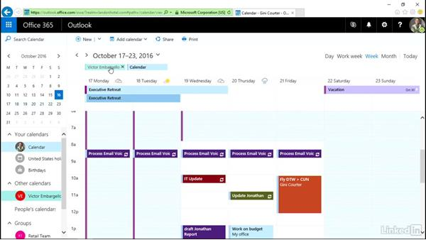 Display more than one calendar: Outlook on the web Essential Training