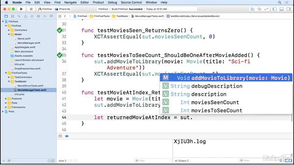 Testing the manager class methods: iOS Test-Driven Development Fundamentals