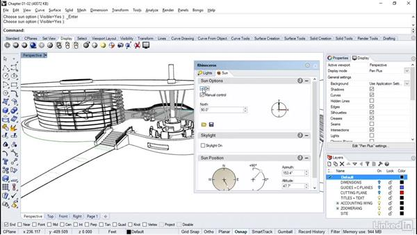 Adding shadows and saving view modes: Rhino Project: Architectural Documentation