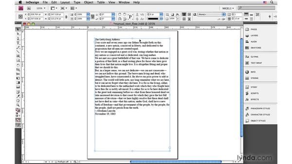 Manual text flow: InDesign CS4: Typography