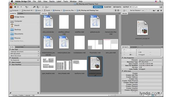 Placing multiple text files: InDesign CS4: Typography