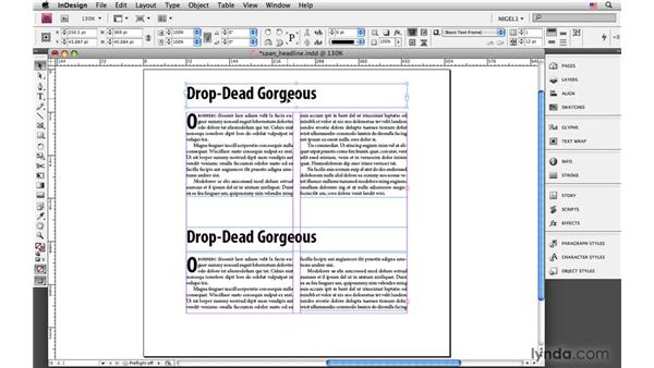 Stretching a headline across columns: InDesign CS4: Typography