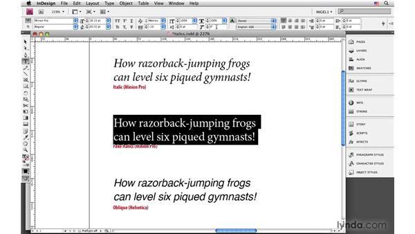 Italic and oblique type : InDesign CS4: Typography
