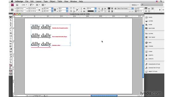 Underlining type : InDesign CS4: Typography
