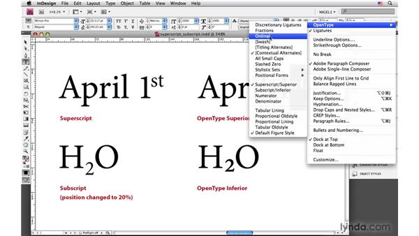 Using superscript and subscript: InDesign CS4: Typography
