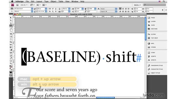 Using baseline shift: InDesign CS4: Typography