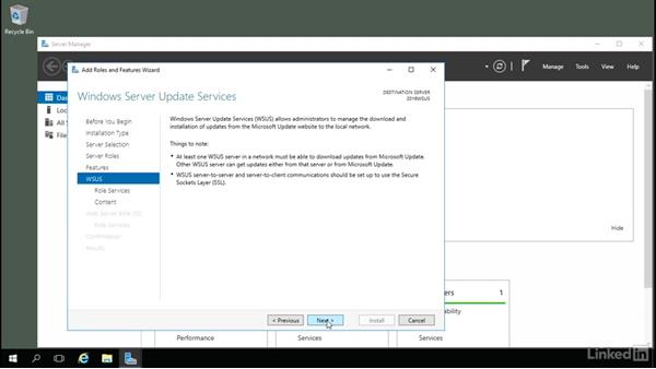 Installing WSUS: Windows Server 2016: Manage, Monitor, and Maintain Servers