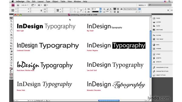 Using contrast: InDesign CS4: Typography