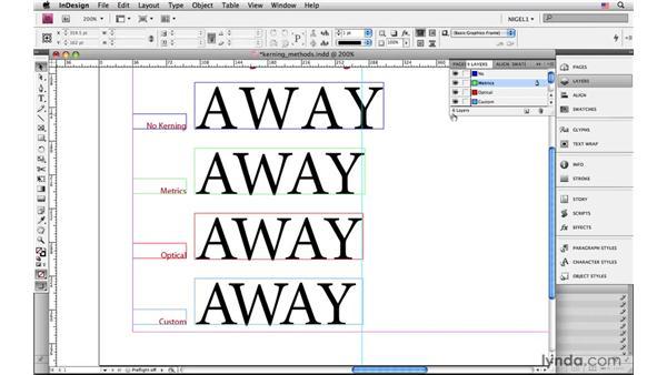 Metrics kerning vs. optical kerning: InDesign CS4: Typography