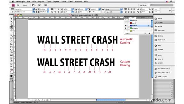 Using kerning to avoid character collisions: InDesign CS4: Typography
