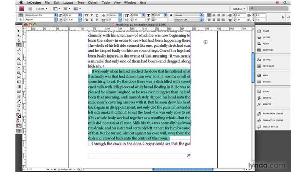 Applying tracking as exception-only: InDesign CS4: Typography