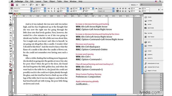 Kerning and tracking preferences: InDesign CS4: Typography