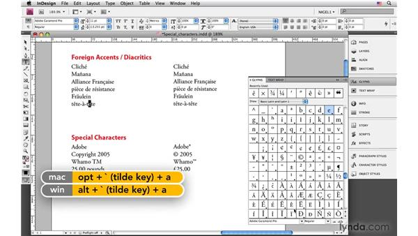 Accents and diacritical marks: InDesign CS4: Typography