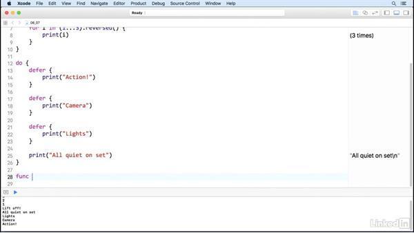 Defer code execution: Swift 3 Essential Training: The Basics