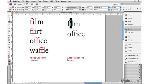 Ligatures and diphthongs: InDesign CS4: Typography