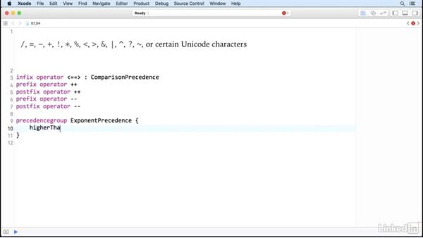 Create custom operators: Swift 3 Essential Training: The Basics