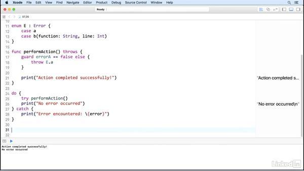 Handle errors: Swift 3 Essential Training: The Basics