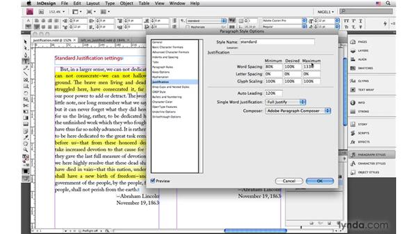 Justified (left justified) alignment: InDesign CS4: Typography