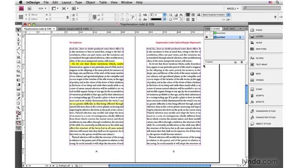 Hyphenation and optical margin alignment: InDesign CS4: Typography