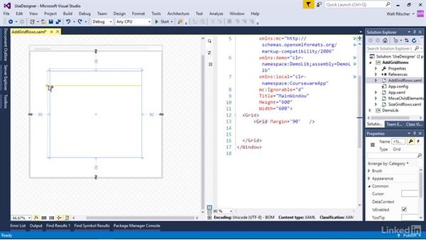 Add grid rows and columns with the designer: Windows Presentation Foundation 2: Layout