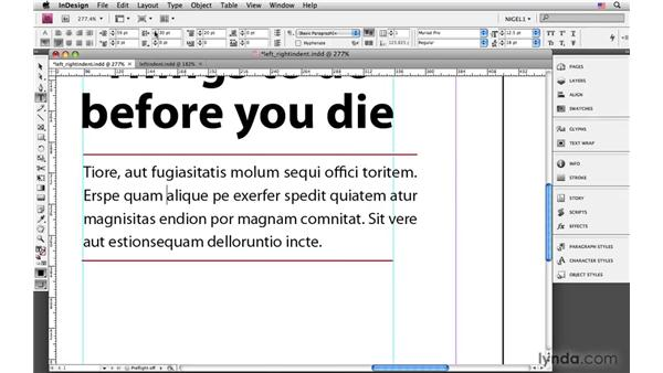 Applying a left indent: InDesign CS4: Typography