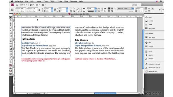 Reinforcing visual relationships with paragraph spacing: InDesign CS4: Typography
