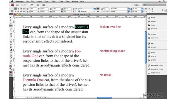 Using no-break and non-breaking characters: InDesign CS4: Typography