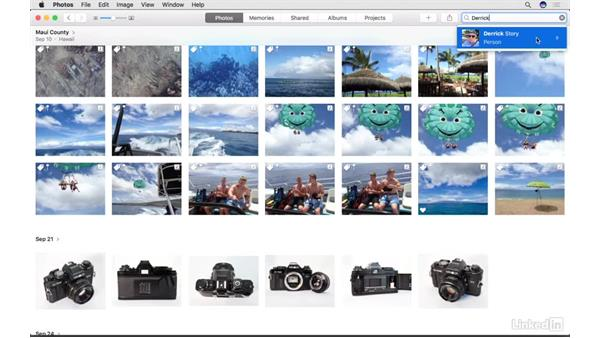 Find images by the faces in them: Photos for macOS Essential Training