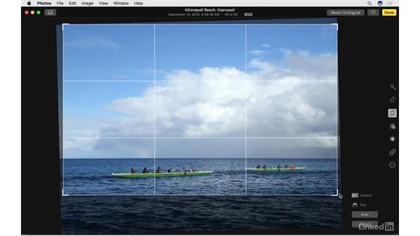 Crop and straighten photos: Photos for macOS Essential Training