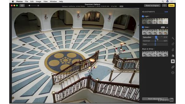 Work with color adjustments: Photos for macOS Essential Training