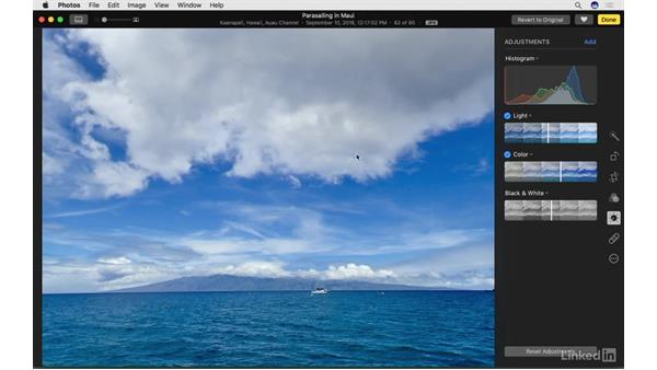 Enable and work with the Histogram: Photos for macOS Essential Training