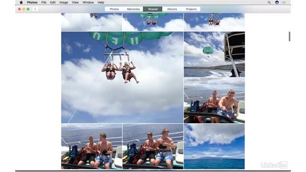 Use iCloud photo sharing and related services: Photos for macOS Essential Training