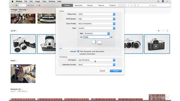 Export pictures and slideshows: Photos for macOS Essential Training