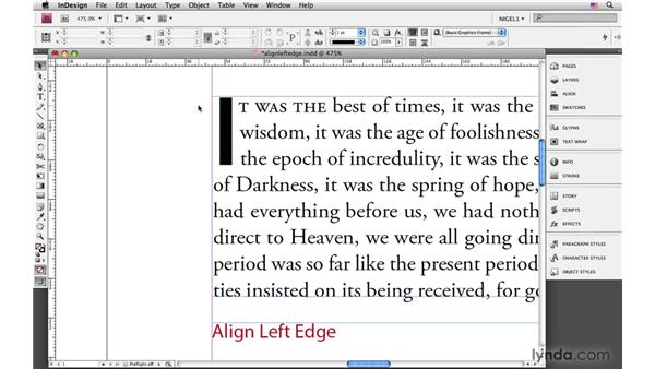 Aligning left edge and scaling for descenders : InDesign CS4: Typography