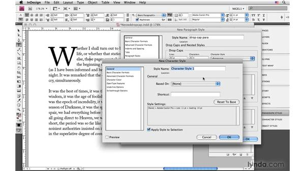 Creating a nested style drop cap: InDesign CS4: Typography
