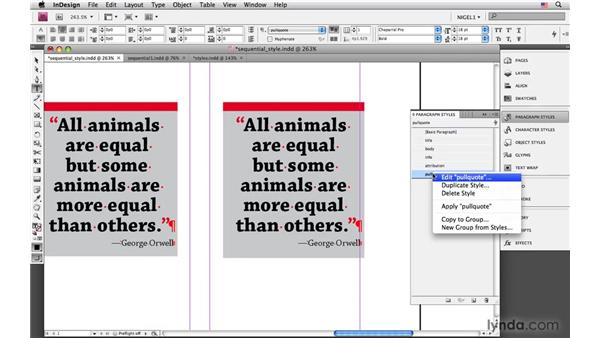 Creating and applying sequential styles: InDesign CS4: Typography