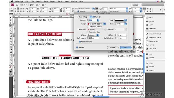 Using paragraph rules creatively: InDesign CS4: Typography