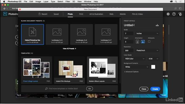 Using the Start workspace: Photoshop CC 2017 for Photographers
