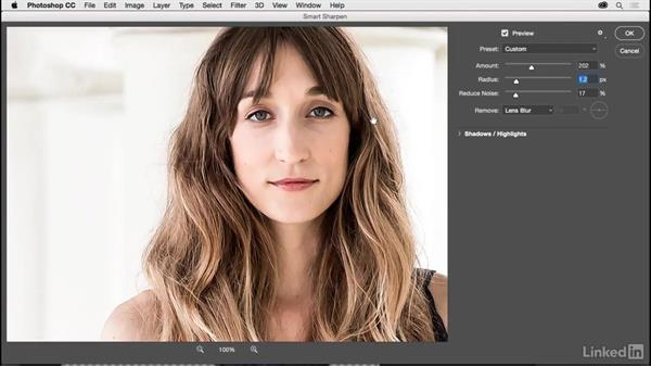 Using Focus Area to select the area to sharpen: Photoshop CC 2017 for Photographers