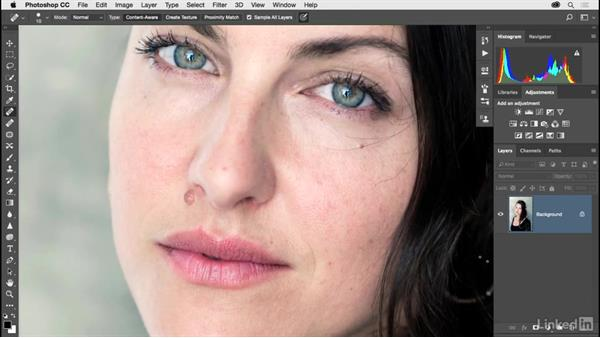 Improving skin with the Healing Brush tools: Photoshop CC 2017 for Photographers