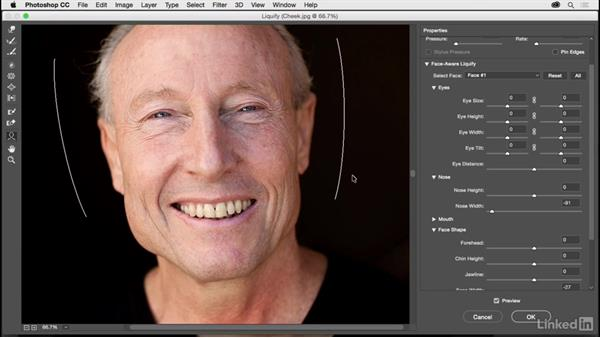 Changing facial structure with Liquify: Photoshop CC 2017 for Photographers