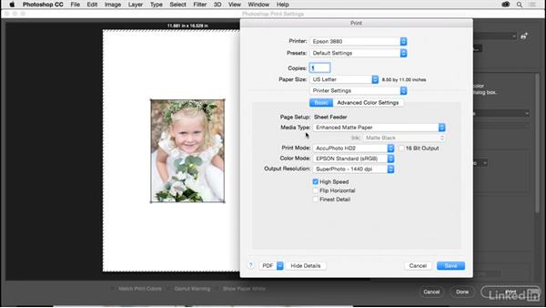 Selecting your printer and paper size: Photoshop CC 2017 for Photographers