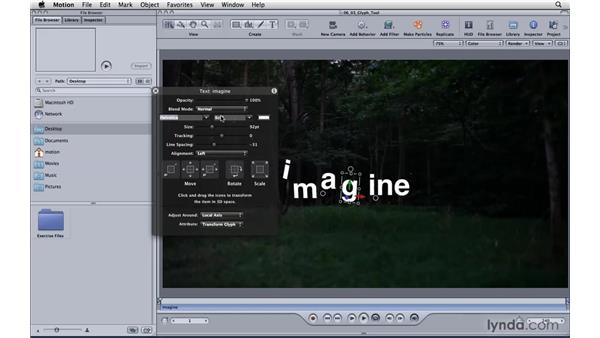 Formatting text with the Adjust Glyph tool: Motion 4 Essential Training