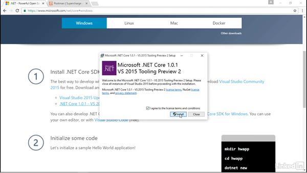 Set up the development environment: Building Web APIs with ASP.NET Core