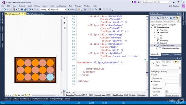 Set the mouse cursor: Windows Presentation Foundation 3: Events and the Event Model