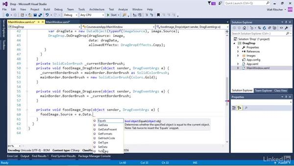 Use the Drop event to complete the drag/drop operation: Windows Presentation Foundation 3: Events and the Event Model