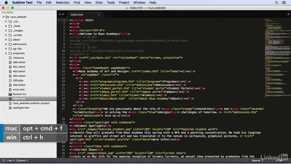 Finding and replacing: Learn Sublime Text 3: The Basics
