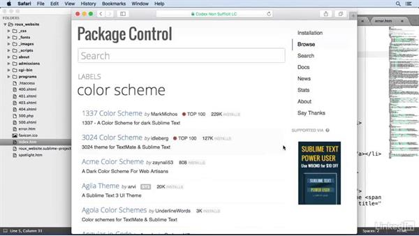 Adding custom color schemes: Learn Sublime Text 3: The Basics